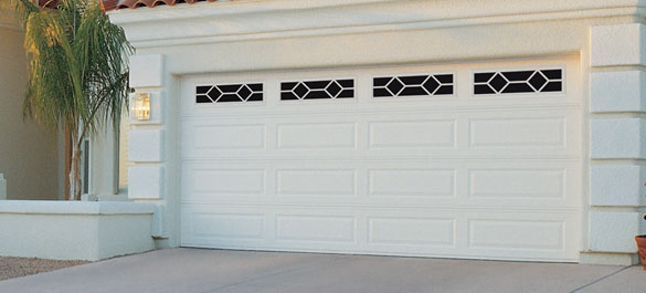 Beautiful Long Panel Garage Door With Windows