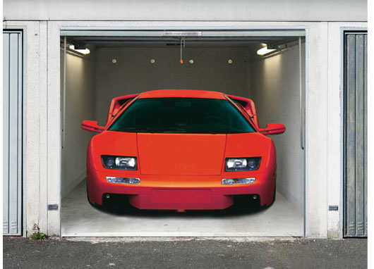 3D Effect garage door photo sticker