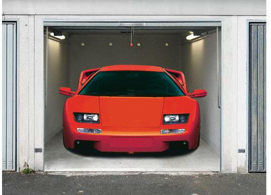 3D Effect garage door photo sticker