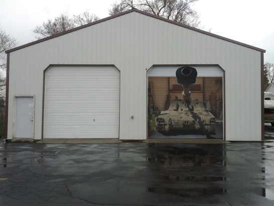 Tank on Garage Door