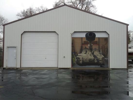 Tank on Garage Door